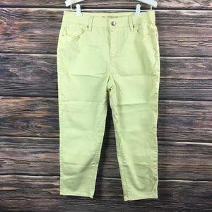 Chico's Platinum Crop Capri Yellow Pants Jeans 8 M